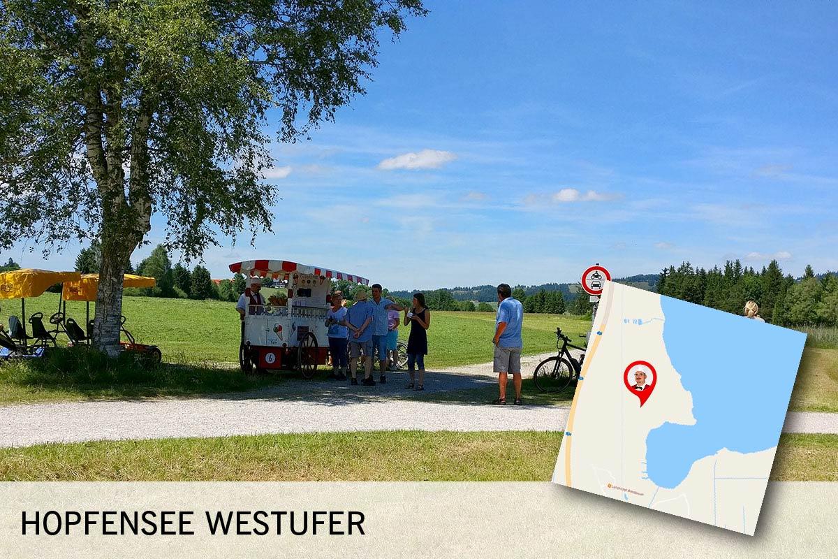 Die Eiskutsche befindet sich zwischen der Abzweigung zum Wiesbauer und dem Badeplatz am Westufer des Hopfensees.